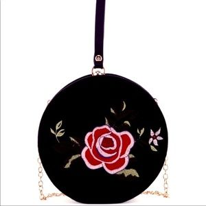 Round Velvet Rose Embroidery Clutch